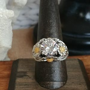 2-Tone Daisy CZ Fashion Ring